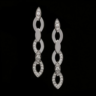 Cartier - Pair of 'Diadea' Diamond & 18ct White Gold Drop Earrings