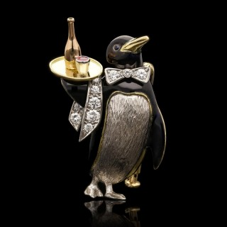 Charming Platinum, Diamond and Enamel Penguin Waiter Brooch by E Wolfe