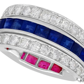 0.90ct Ruby, 0.90ct Sapphire and 0.80ct Diamond, Platinum Bilateral Ring - Vintage French Circa 1940