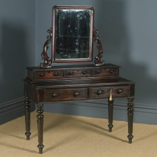 Antique Victorian Anglo Indian Colonial Ebonised Teak Dressing Table with Mirror (Circa 1870)