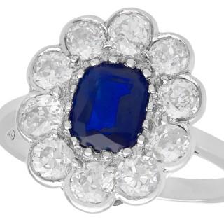 1.07ct Sapphire and 1.54ct Diamond, Platinum Cluster Ring - Antique Circa 1920