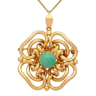 2.83ct Chalcedony and 18ct Yellow Gold Pendant - Vintage Circa 1950