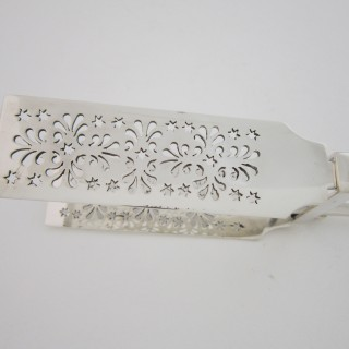 Antique Victorian Sterling Silver Asparagus Tongs - 1881