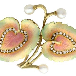 0.21ct Diamond, Natural Pearl and Enamel, 18ct Yellow Gold Brooch - Antique Victorian Circa 1900