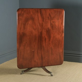 Antique English Georgian Regency Figured Mahogany Tilt Top Breakfast Pedestal Dining Table (Circa 1820)