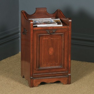 Antique English Edwardian Inlaid Mahogany Purdonium Coal Scuttle Bin (Circa 1910)
