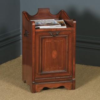 Antique English Edwardian Inlaid Mahogany Purdonium Coal Scuttle Bin (Circa 1910)