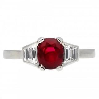 Art Deco Burmese ruby and diamond ring, circa 1925.