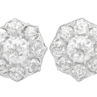 3.37 ct Diamond and 12 ct Yellow Gold Cluster Earrings - Antique Circa 1910