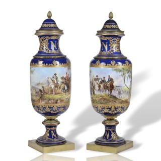 Large Pair of Sevres style vases, Battle Scenes
