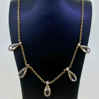 Victorian Rock Crystal and Pearl Necklet