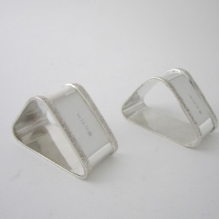 Antique George VI Sterling Silver Napkin Rings - 1937