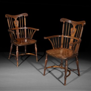Fine Pair of Arts and Crafts Mahogany Windsor Armchairs