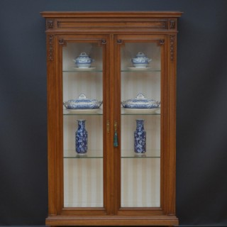 Turn of the Century Solid Walnut Vitrine