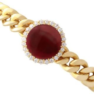 9.92 ct Garnet and 1.07 ct Diamond, 14 ct Yellow Gold Bracelet - Antique Circa 1890