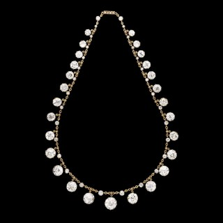 Antique Fringe Necklace with 50carats of Old Mine Cut Diamonds by Hancocks circa 1890