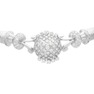 6.68ct Diamond and 18ct White Gold Necklace / Bracelet - Art Deco - Vintage French Circa 1940
