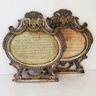 Pair of Antique Italian Silver Frames