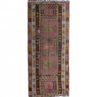 Antique Handwoven Turkish Kilim Rug, Handmade Flat-weave Wool Rug- 158x438cm