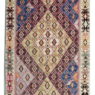 Antique Handmade Anatolian Kilim, Oriental Wool Flat weave Rug- 163x414cm