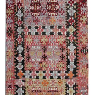Antique Anatolian Wool Kilim, Traditional Oriental Handwoven Rug- 161x235cm