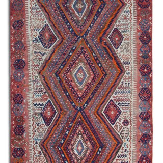 Antique Anatolian Wool Kilim Handmade Flat weave Turkish Rug- 151x300cm