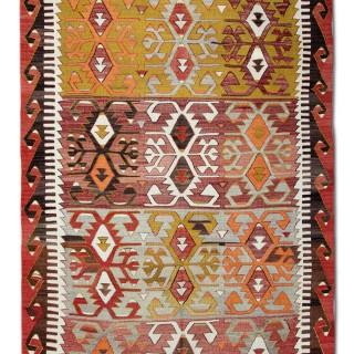 Handmade Antique Anatolian Kilim Rug Flat-weave Turkish Kilim- 170x240cm