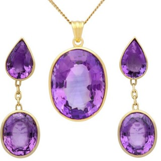 42.91 ct Amethyst and 18 ct Yellow Gold Earring and Necklace Set - Vintage Circa 1950