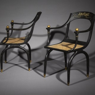 Pair of Antique Curule Armchairs, after a design by Jean-Joseph Chapuis