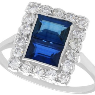 1.60ct Sapphire and 0.70ct Diamond, Platinum Cluster Ring - Antique Circa 1930