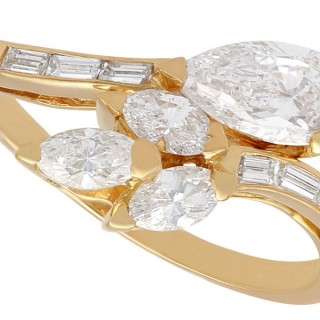 2.37ct Diamond and 18ct Yellow Gold French Crossover Ring - Vintage French Circa 1980
