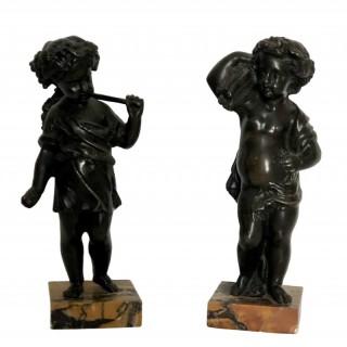 Pair of 19th Century Bronze Harvest Cherub Sculptures, French