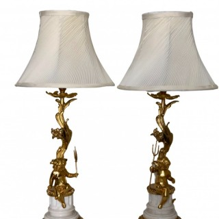 Pair of 19th Century Gilt Bronze Cherub Candlestick Lamps on Marble Bases, French