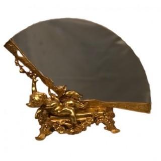 19th century French Ormolu Mirror in the Shape of a Fan