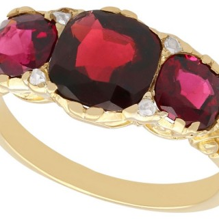 3.06 ct Garnet and 0.04 Diamond, 18 ct Yellow Gold Dress Ring - Antique Circa 1930