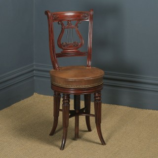 Antique English Regency Mahogany & Leather Revolving Harpist / Chellist Music Chair (Circa 1830)