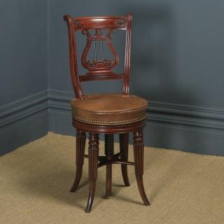 Antique English Regency Mahogany & Leather Revolving Harpist / Cellist Music Chair (Circa 1830)