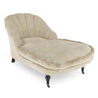 Antique 20th Century Art Deco Style Ebonised Wood Chaise Longue