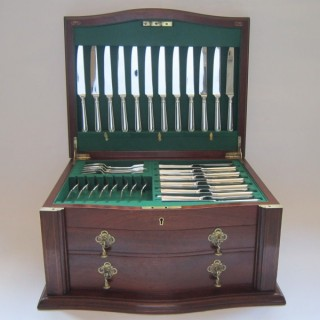 Antique Victorian Sterling Silver Canteen of Cutlery Set by George Adams