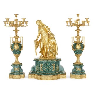Napoleon III Period Neoclassical Malachite and Gilt Bronze Clock Set by Picard