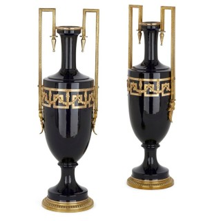 Pair of Antique Neoclassical Style Faience and Gilt Metal Vases