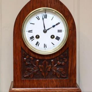 Solid Oak Lancet Top Mantel Clock