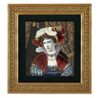 Antique Renaissance Style Porcelain Portrait with Enamel by Lamy