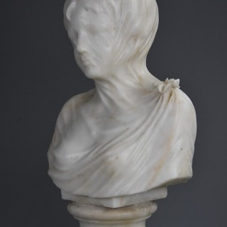 Late 19th century Italian carved marble bust of a veiled maiden