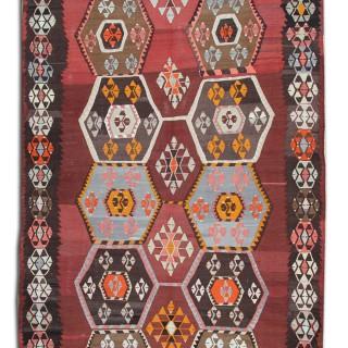 Handwoven Turkish Kilim Rug, Oriental Tribal Wool Rug- 204x375cm