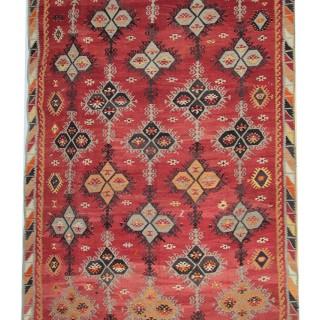 Flat-woven Turkish Kilim, Traditional Wool Area Rug- 227x342cm