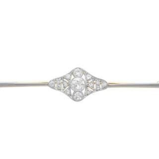 0.73ct Diamond and 18ct Yellow Gold Bar Brooch - Antique Circa 1910