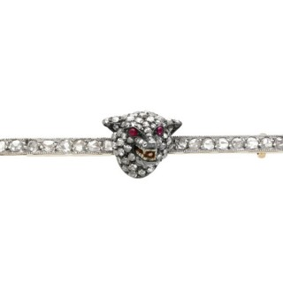 1.20ct Diamond, Pearl and Ruby, 14ct Gold and Silver Fox Brooch - Antique Circa 1880