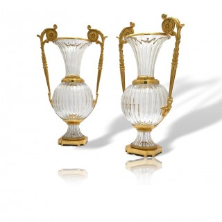 PAIR OF LARGE FRENCH ORMOLU MOUNTED GLASS VASES