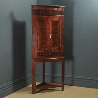 Antique English Georgian Flame Mahogany Floor Standing Bow Front Corner Cupboard on Stand (Circa 1820)